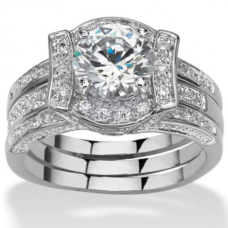 Concise Engagement S925 Sterling Silver Round Cubic Zirconia Ring Set