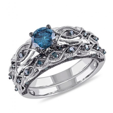 Chic S925 Sterling Silver Round Blue Cubic Zirconia Ring Set