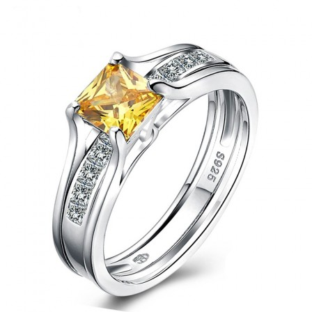 Beautiful Radiant Topaz Cubic Zirconia S925 Sterling Silver Engagement Ring