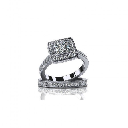 Fashion Jewelry Design S925 Sterling Silver Cubic Zirconia Bridal Ring Set