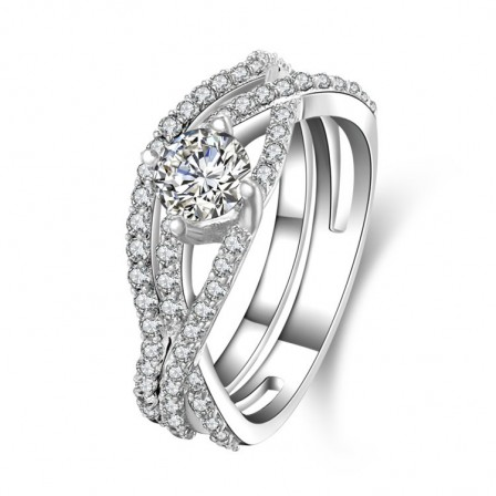 2018 New S925 Sterling Silver Cubic Zirconia Wedding Ring Set