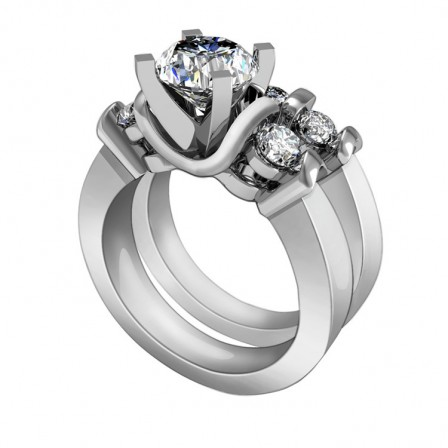 Wonderful Cubic Zirconia S925 Sterling Silver Personality Bridal Ring Set