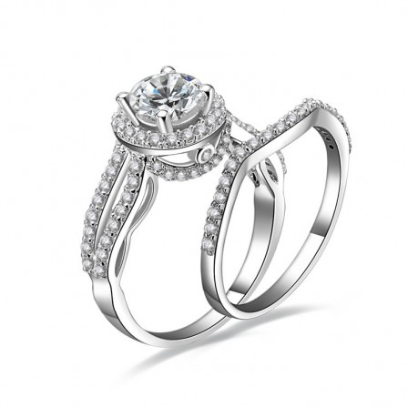Nice S925 Sterling Silver New Style Cubic Zirconia Bridal Ring Set