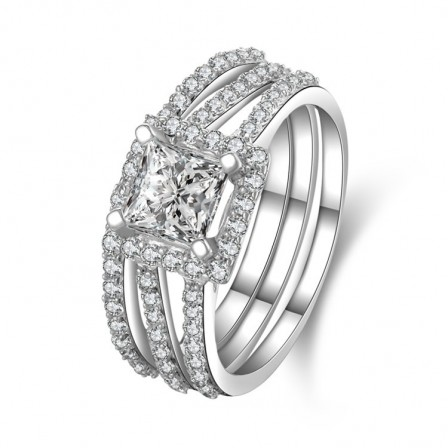 Fabulous S925 Sterling Silver Cubic Zirconia Romance Ring Set