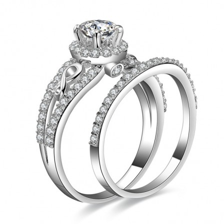 Gorgeous European S925 Sterling Silver Cubic Zirconia Bridal Ring Set