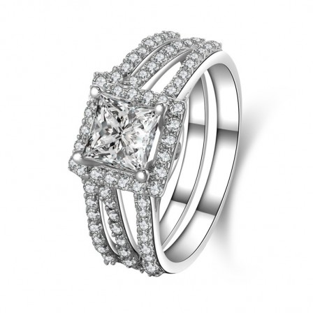 Fantastic S925 Sterling Silver Radiant White Sapphire Cubic Zirconia Engagement Ring Set