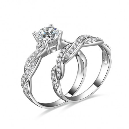 New S925 Sterling Silver Females Cubic Zirconia Bridal Ring Set