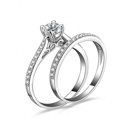 2018 Newest S925 Sterling Silver Cubic Zirconia Wedding Ring Set