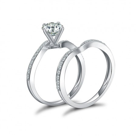 Concise One Carat S925 Sterling Silver Cubic Zirconia Bridal Ring Set