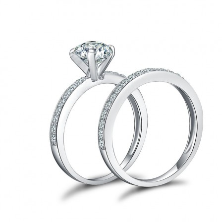 Romantic S925 Sterling Silver Shinning Cubic Zirconia Wedding Ring Set