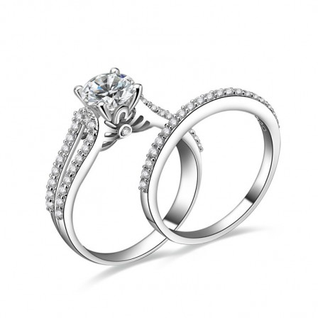 Simple S925 Sterling Silver Four Claws Cubic Zirconia Wedding Ring Set