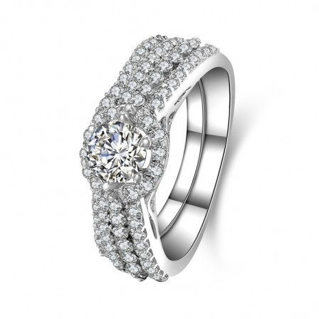 Lovely S925 Sterling Silver Round White Sapphire Cubic Zirconia Bridal Ring Set