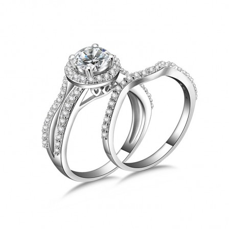 Popular S925 Sterling Silver White Sapphire Cubic Zirconia Wedding Ring Set