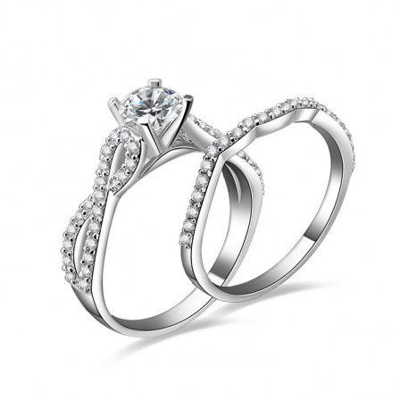 Beautiful Cubic Zirconia S925 Sterling Silver Engagement Ring Set