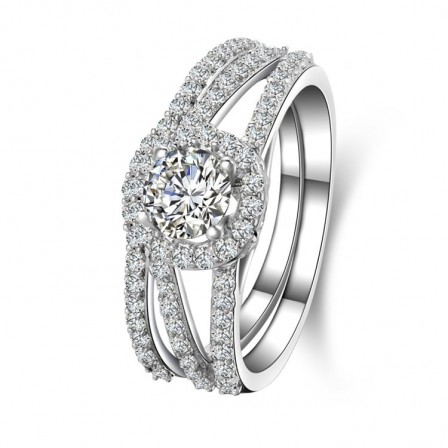 Fabulous S925 Sterling Silver Round Cubic Zirconia Engagement Ring Set
