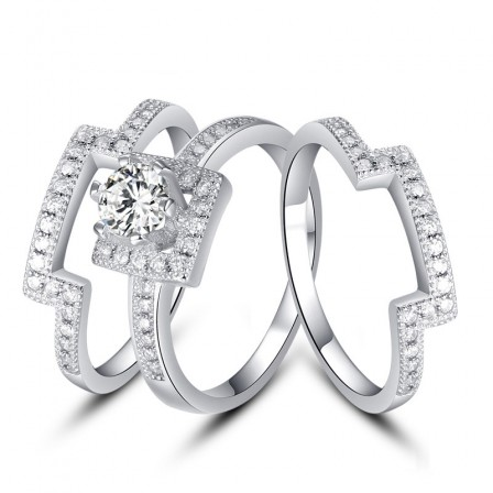 Superb S925 Sterling Silver Round White Sapphire Cubic Zirconia  Wedding Ring Set
