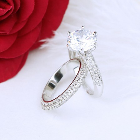 Nice S925 Sterling Silver Round Cubic Zirconia Bridal Ring Set