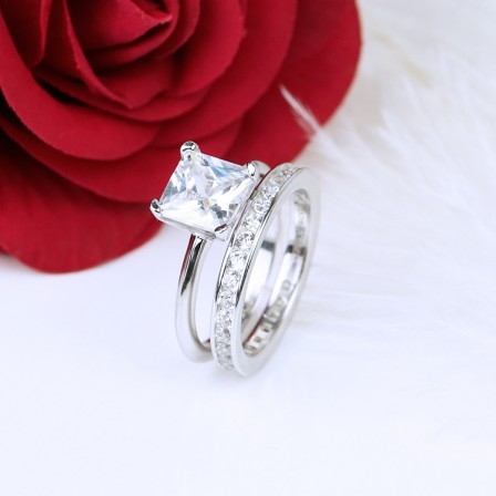 Fabulous Cubic Zirconia S925 Sterling Silver Females Ring Set For Valentine'S Day
