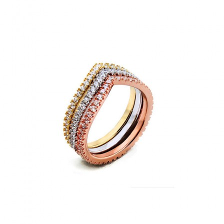 Fashion Style S925 Sterling Silver Three Colors Ring For Lover