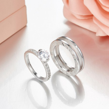 European S925 Sterling Silver Terrific Cubic Zirconia Bridal Ring Set