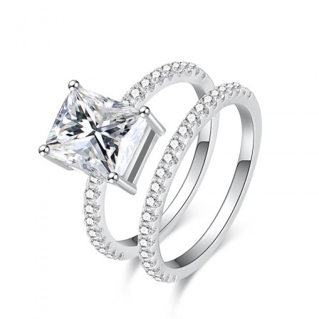 Perfect S925 Sterling Silver Radiant Cubic Zirconia Sinning Love Ring Set