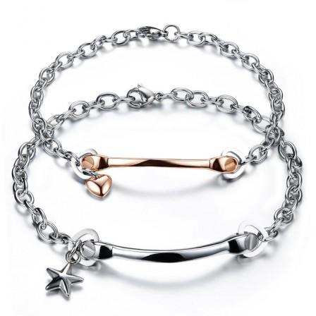 Star&Heart Simple Style Lovers Bracelets Titanium Steel Plated Rose Gold Bracelet Set
