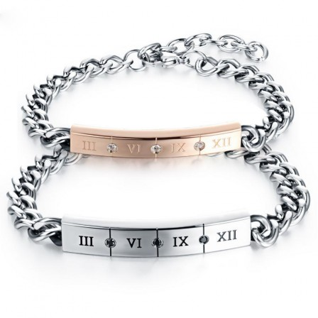 Roman Numerals Lovers Bracelets Black and White Cubic Zirconia Inlaid Titanium Steel Plated Rose Gold Simple Style Bracelet