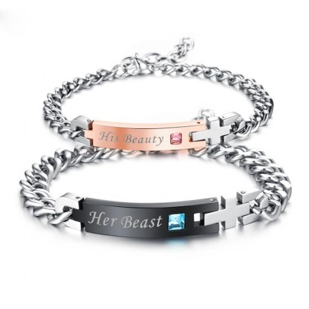 Fashion Lovers Bracelets Titanium Steel Plated Rose Gold Black Bracelet Cubic Zirconia Inlaid Valentine's Day Gift