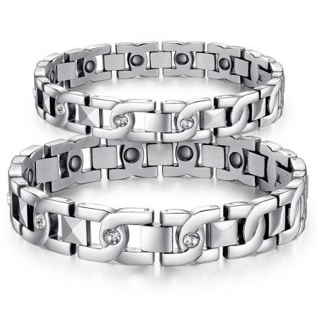 Titanium Steel Lovers Bracelets with Energy Magnetic Stone Fashion Bracelet