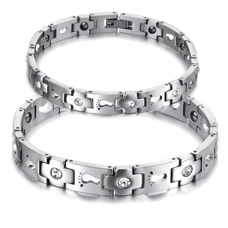 Fashion Titanium Steel Bracelet with Energy Magnetic Stone Cubic Zirconia Inlaid Lovers Bracelets