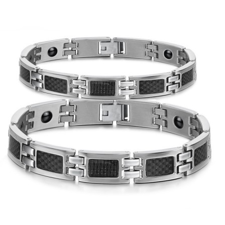 Titanium Steel Lovers Bracelets with Energy Magnetic Stone Fashion Jewelry