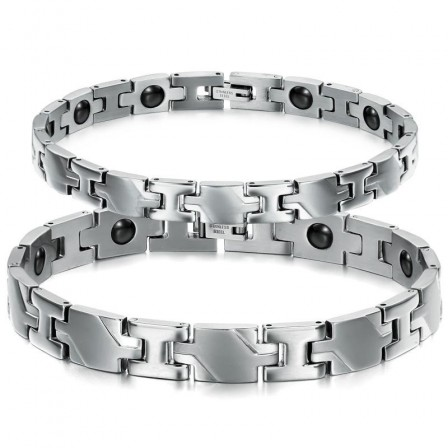 Titanium Steel Bracelets with Energy Magnetic Stone Popular Lovers Bracelets