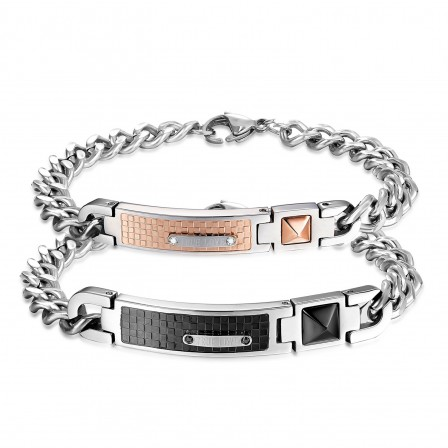 Titanium Steel Plated Black and Rose Gold Lovers Bracelets Original Design Bracelets