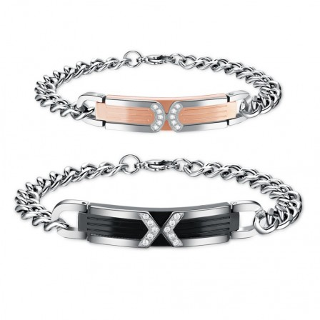 Titanium Steel Inlaid Cubic Zirconia Lovers Bracelets Fashion Jewelry Bracelets for Couples