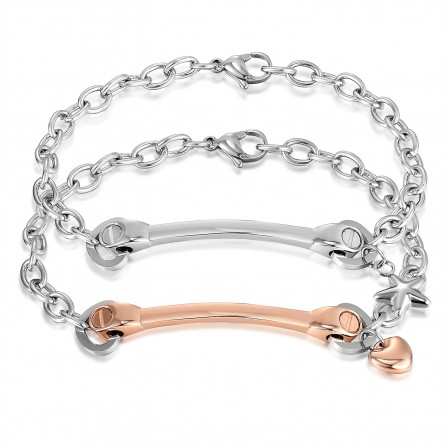 Star&Heart Simple Exquisite Style Lovers Bracelets Titanium Steel Plated Rose Gold Bracelets