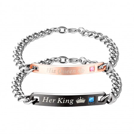New Titanium Steel Inlaid Cubic Zirconia Crown Prince Couple Bracelet Fashion Simple Valentine's Day Gift