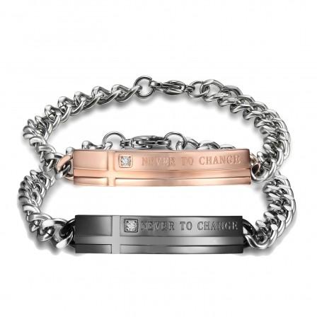 Exquisite Titanium Steel Inlaid Cubic Zirconia Lovers Bracelets