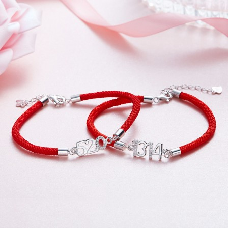Popular Valentine's Day Gift S925 Sterling Silver Inlaid Cubic Zirconia Lovers Bracelets