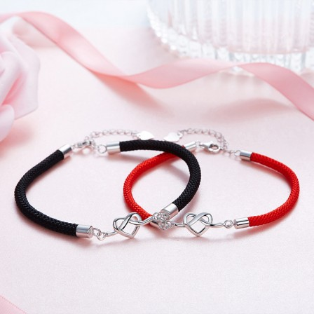 2018 Fashion Heart-Shaped S925 Sterling Silver Lovers Bracelets Valentine's Day Gift