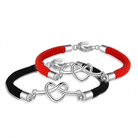 Hollow Heart-Shaped S925 Sterling Silver Lovers Bracelets