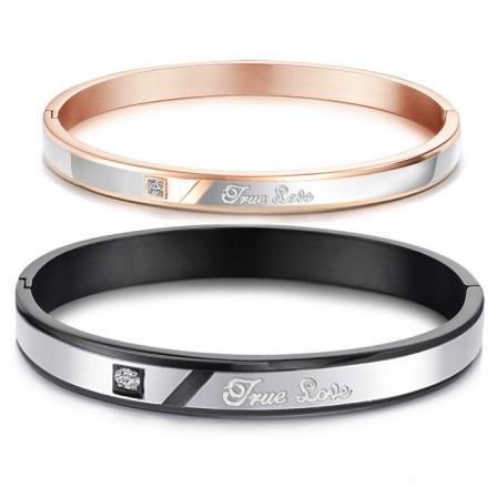 "Hot Selling ""True Love"" Titanium Steel Inlaid Cubic Zirconia Lovers Bracelets"