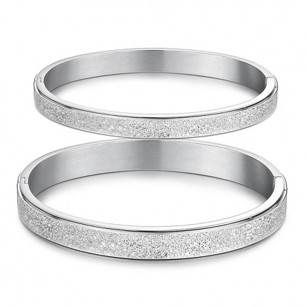 Retro Frosted Titanium Steel Lovers Bracelets