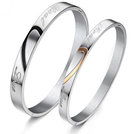 Fashion Heart-Shaped Puzzle Titanium Steel Lovers Bracelets