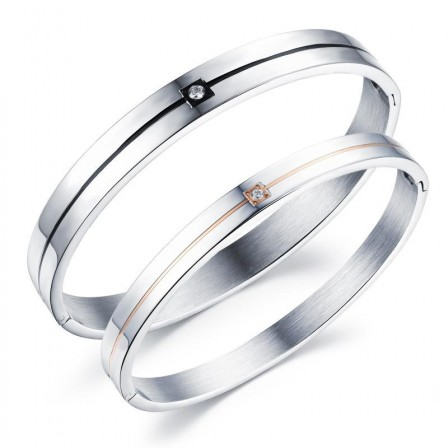 Classic Simple Love Gift Titanium Steel Inlaid Cubic Zirconia Lovers Bracelets
