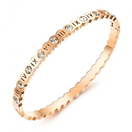 Lucky Roman Numerals Titanium Steel Inlaid Cubic Zirconia Rose Gold Lovers Women Bracelets