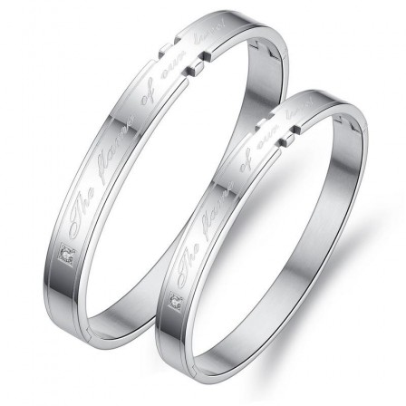 True Love Titanium Steel Inlaid Cubic Zirconia Lovers Bracelets