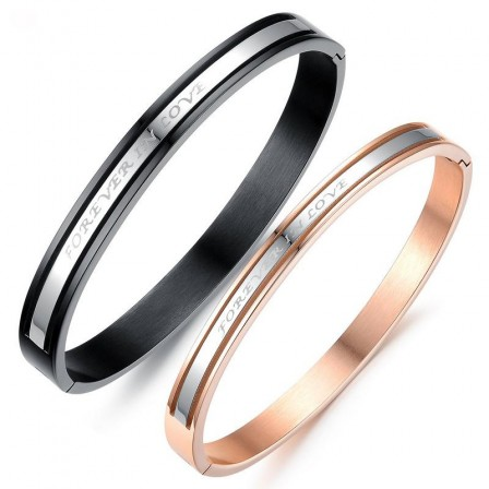 """""""Forever in Love"""" Titanium Steel Plated Rose Gold Classic Lovers Bracelets"""