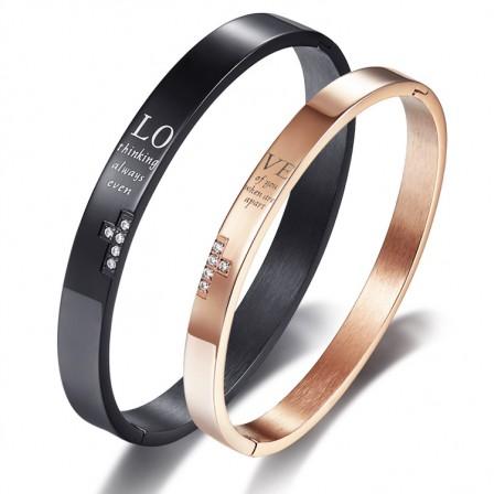 """Love"" Titanium Steel Inlaid Cubic Zirconia Cross Style Lovers Bracelets"