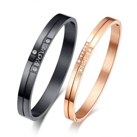 """Love"" Titanium Steel Plated Black & Rose Gold Inlaid Cubic Zirconia Lovers Bracelets"