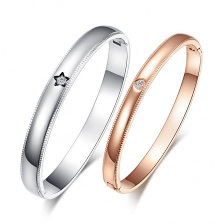 Exquisite Valentine's Day Gift Love Titanium Steel Inlaid Cubic Zirconia Lovers Bracelets